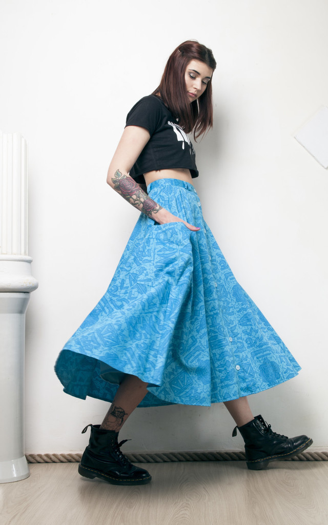 80s vintage button front full skirt by Pop Sick Vintage