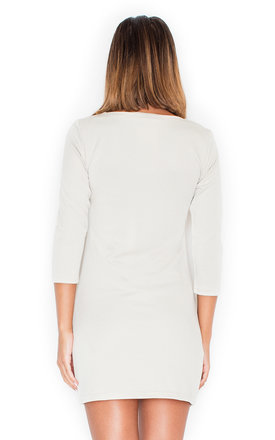 Beige 3/4 sleeve dress with front zipper by KATRUS
