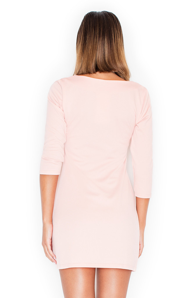 Pink 3/4 sleeve dress with front zipper by KATRUS