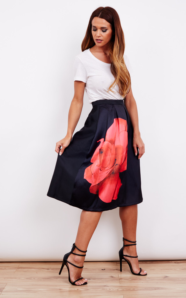 Flower Print A Line Midi Skirt by Oeuvre