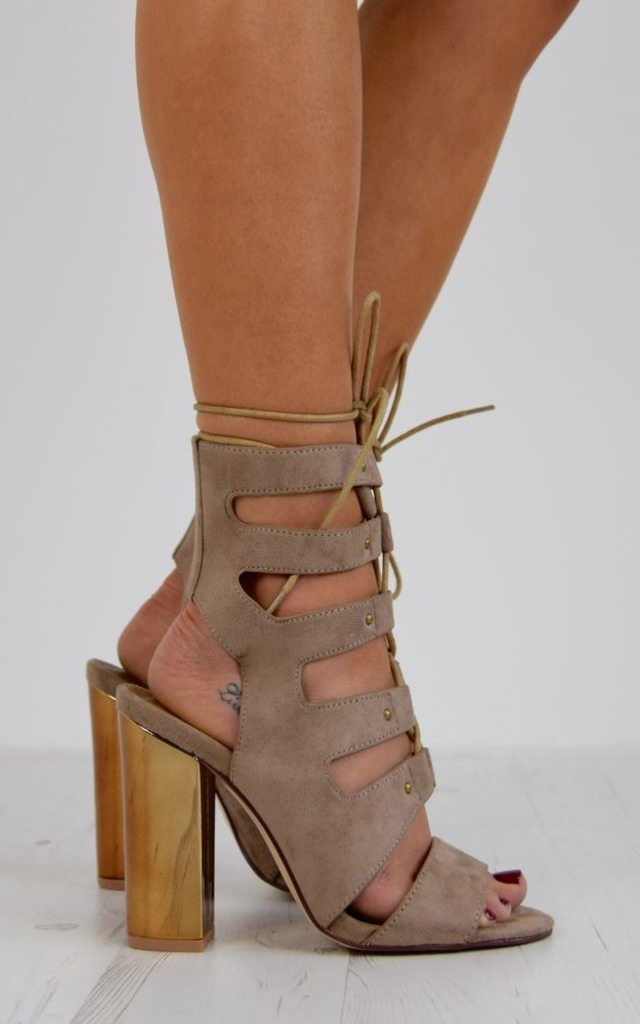 Rose Gold Block Heel Lace Up Sandal - Taupe Suede by AJ | VOYAGE