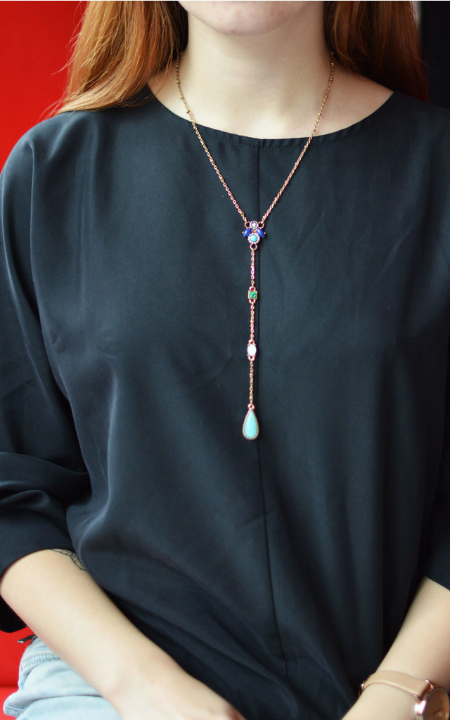 Lariat Necklace with Multicoloured Stones by Silver Rain