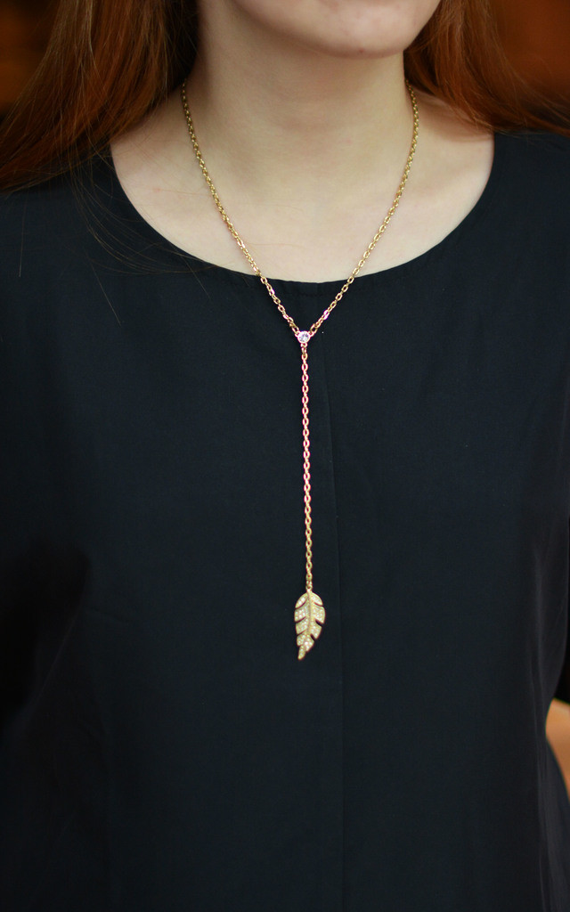 Lariat Necklace with Gold Leaf by Silver Rain