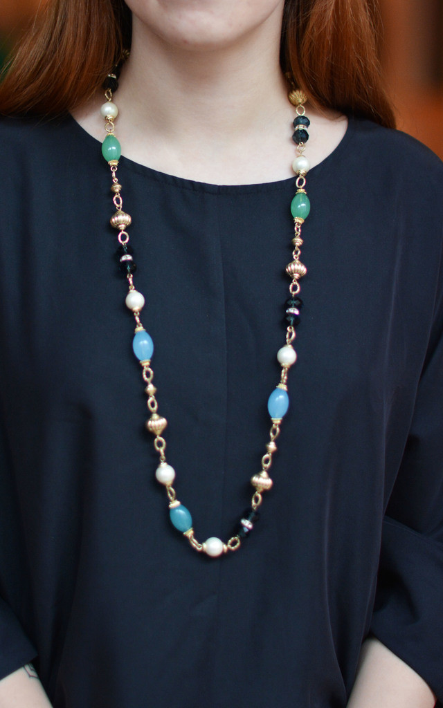 Ethnic Style Inspired Beads Crystals Necklace by Silver Rain