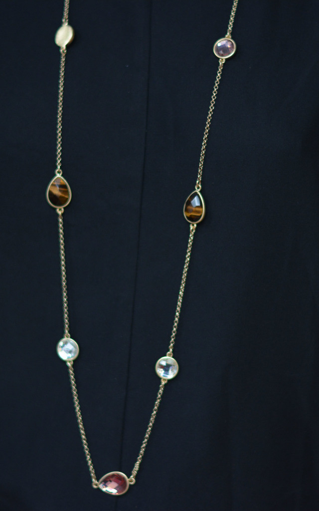 Tiger Eye Crystals Long Necklace by Silver Rain
