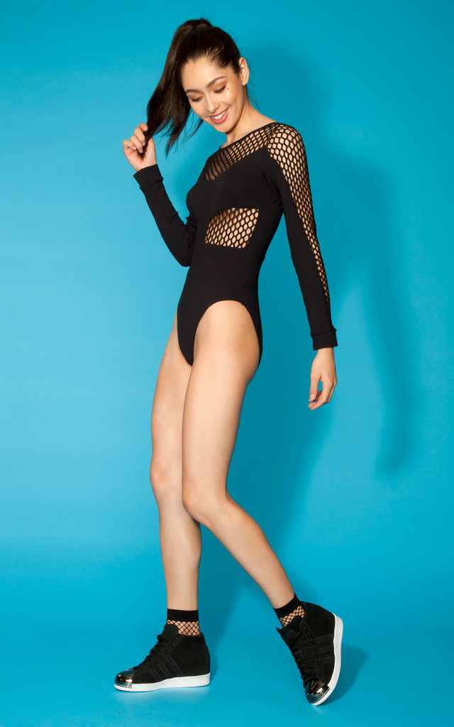 Quontum Black Fishnet High Rise Body by Quontum