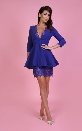 Elizabeth V Neck Dress in Cobalt Blue by Rebecca Rhoades
