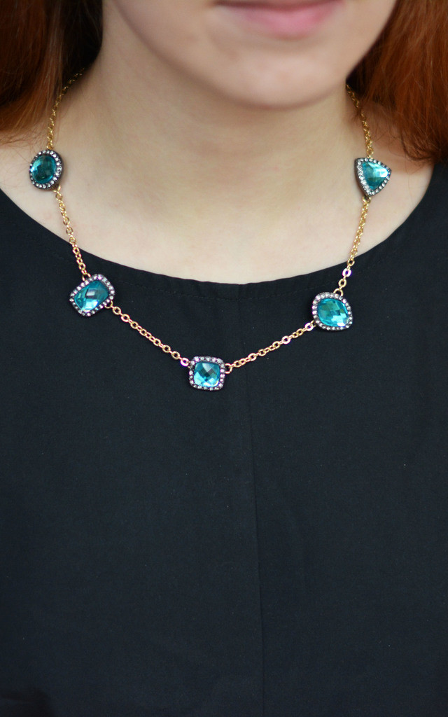 Geometric Blue Glass Crystal Necklace by Silver Rain