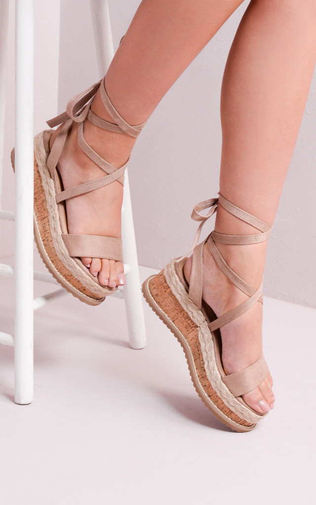 Suede Lace Up Braided Cork Wedge Sandals Mocha by LILY LULU FASHION