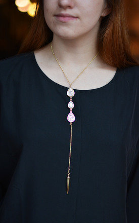 Lariat Necklace with Sparkly Crystals by Silver Rain