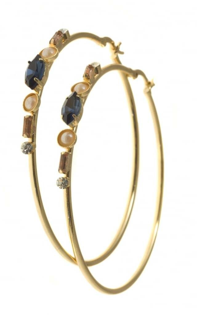 Aria Navy Jewelled Hoop Earrings by Johnny Loves Rosie