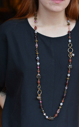 Ethnic Style Mixed Beads and Crystals Necklace by Silver Rain