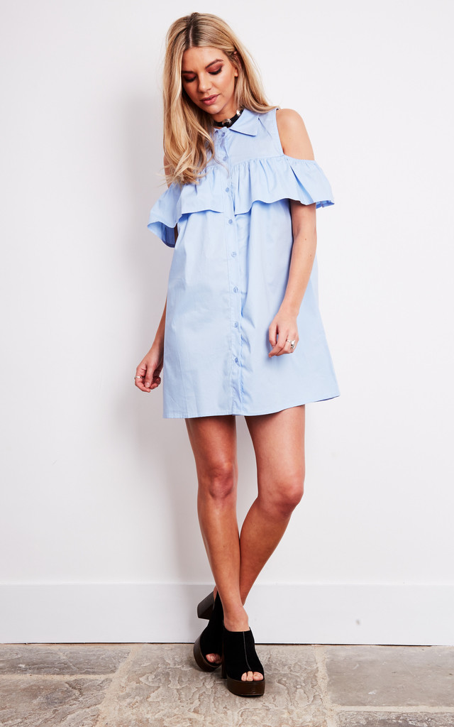 Blue Cold Shoulder Dress by Bella and Blue