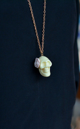 White Skull with Flower Necklace by Silver Rain
