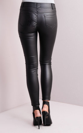 Ribbed Detailing Skinny Leather Trousers by LILY LULU FASHION
