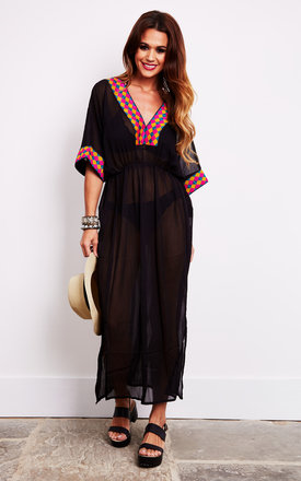 Black Sheer Maxi Beach Kaftan With Embroidery by Liquorish