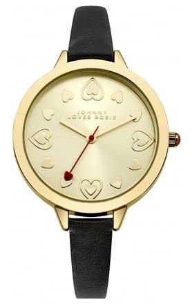 Black Strap Gold Midi Dial Watch by Johnny Loves Rosie