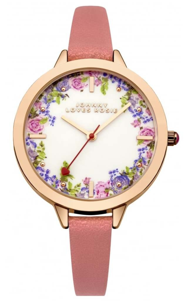 Coral Strap Vintage Floral Midi Dial Watch by Johnny Loves Rosie