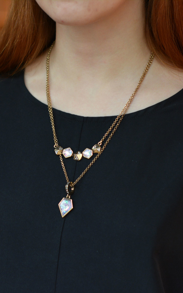 Two Layered Necklace With Rose Gold Cable Chain by Silver Rain