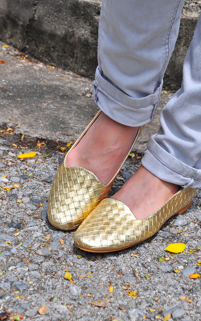 Juvina Gold Weaving Texture flat Loafers shoes by SEIRA ELVES