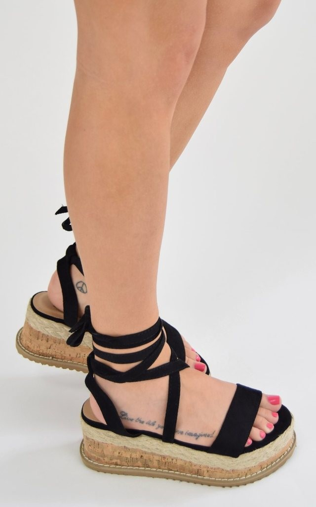 Tie Up Cork Espadrille Wedges - Black Suede by AJ | VOYAGE