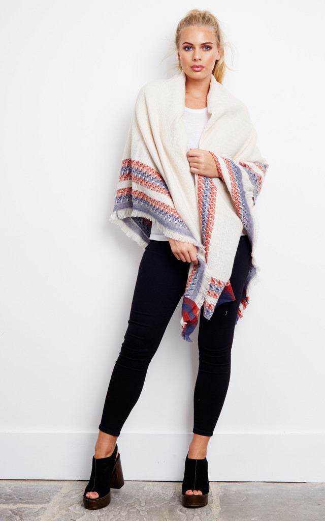 Oversized Blanket Scarf With Striped Boarder by Liquorish