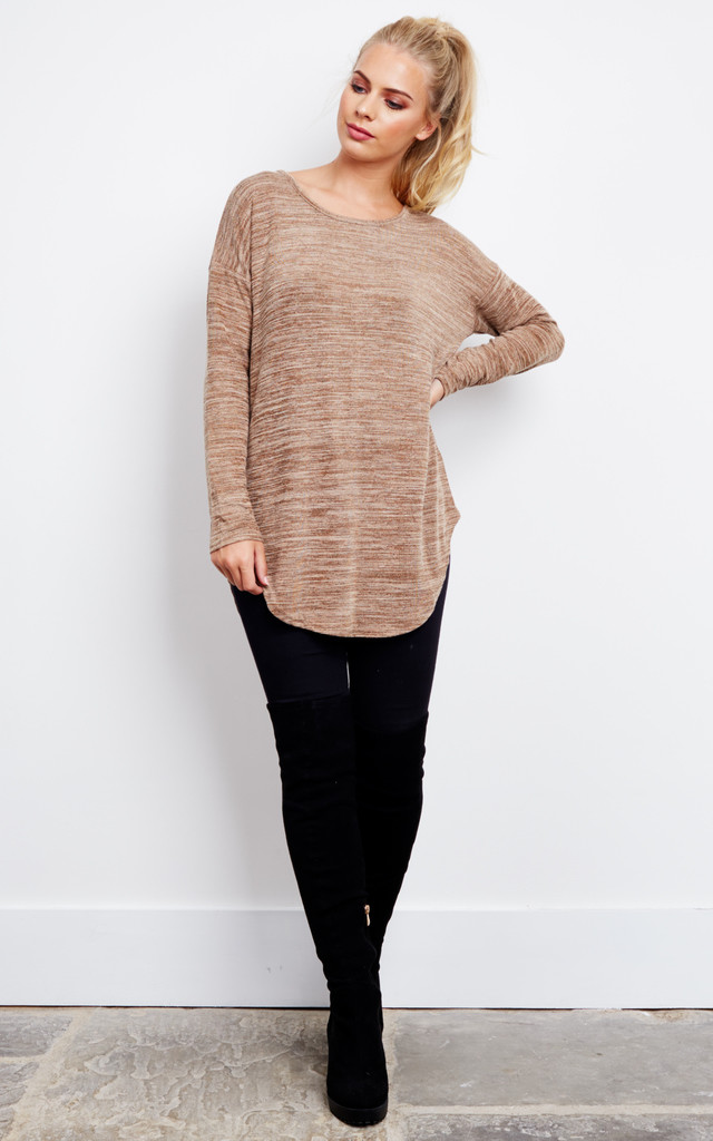 HOLDEN - Back Zip Oversized Top Camel by Blue Vanilla