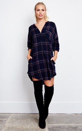 Long Sleeve Check Navy Shirt by ASTR