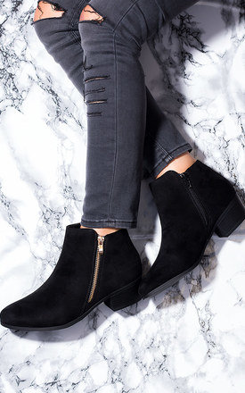 FRANKY Zip Block Heel Ankle Boots Shoes - Black Suede Style by SpyLoveBuy
