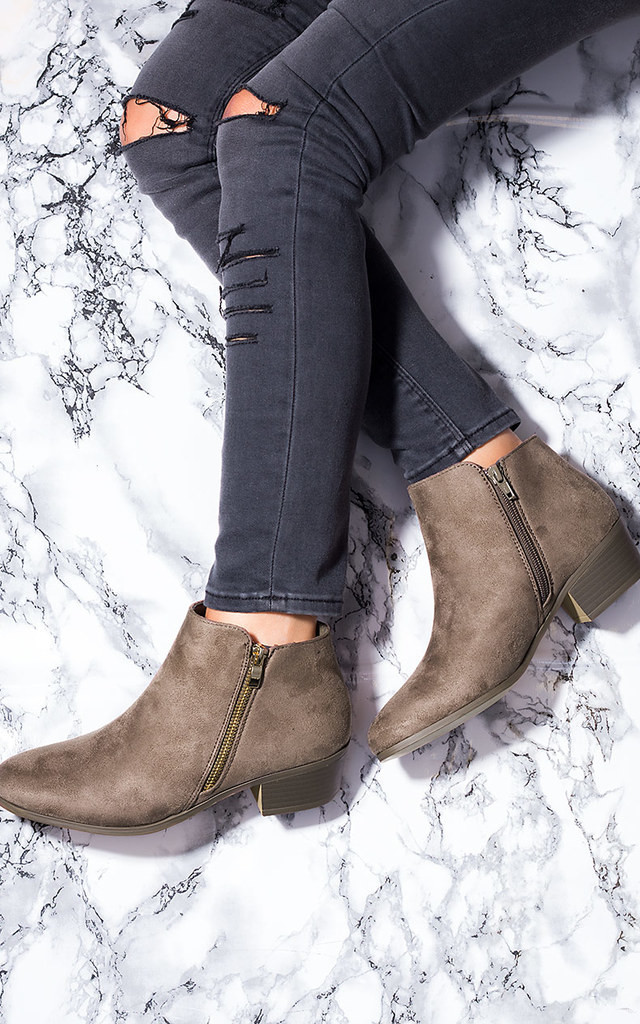 FRANKY Zip Block Heel Ankle Boots Shoes - Brown Suede Style by SpyLoveBuy
