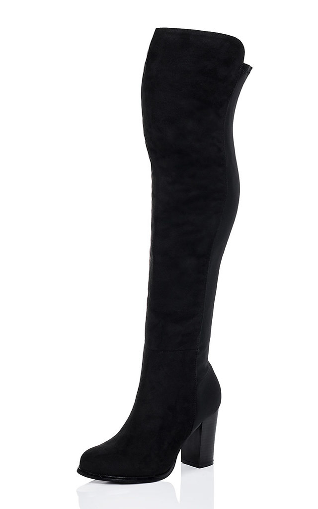 WILEY Stretch Block Heel Over Knee Tall Boots - Black Suede Style by SpyLoveBuy