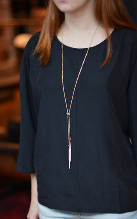 Lariat Necklace in Gold Tone by Silver Rain