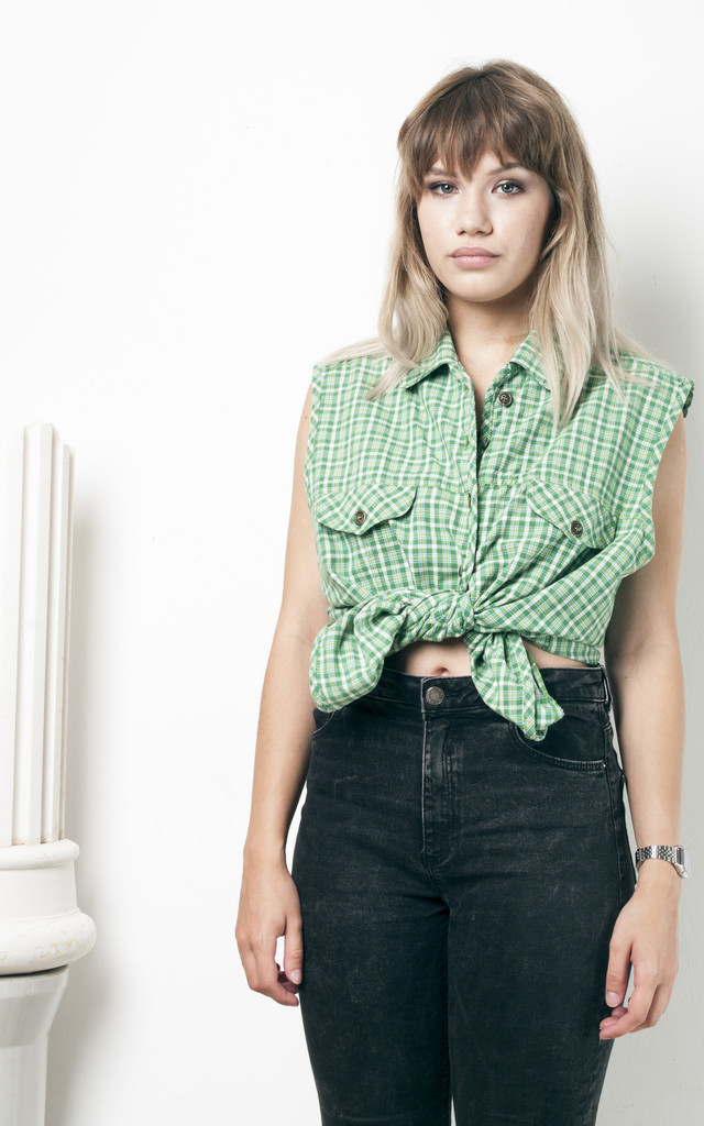90s vintage checked green button front top by Pop Sick Vintage