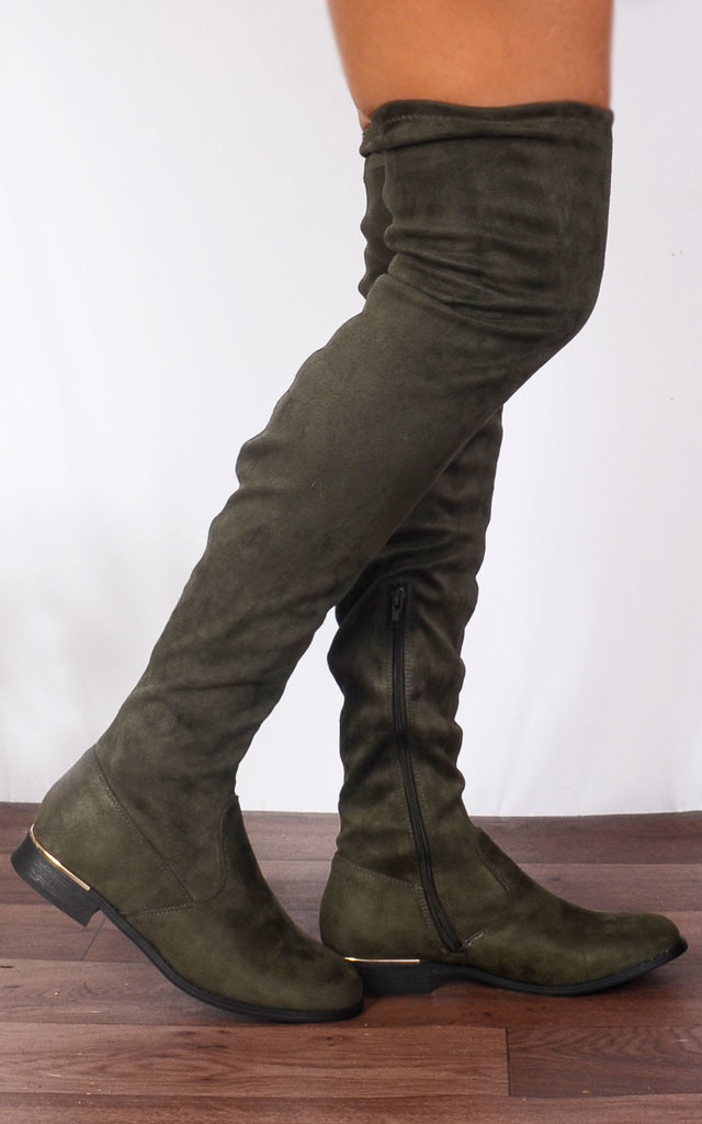 Khaki Green Pull Ups Thigh High Over The Knee Flat Boots by Shoe Closet