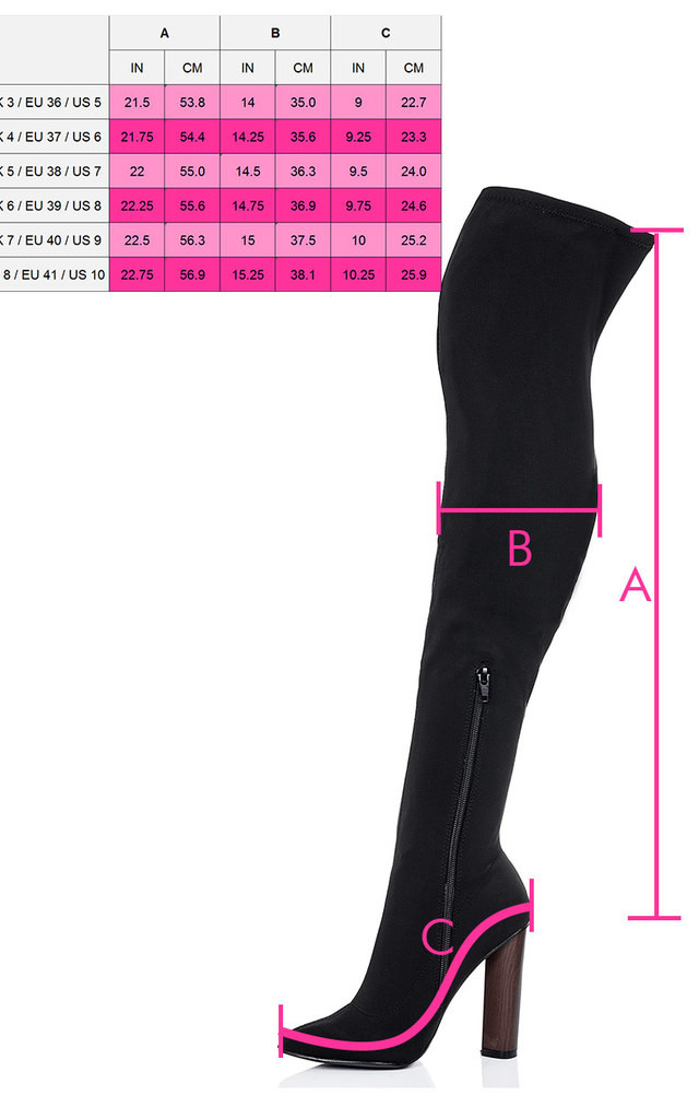 VAGAS Pointed Toe Block Heel Over Knee Tall Boots - Black Lycra by SpyLoveBuy
