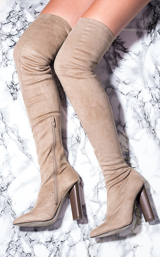 VAGAS Pointed Toe Block Heel Over Knee Tall Boots - Brown Suede Style by SpyLoveBuy