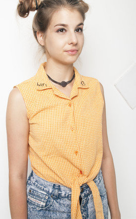 90s tie front WIFI embroidered crop top by Pop Sick Vintage