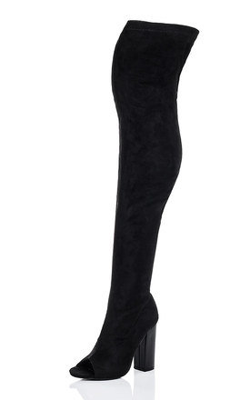 LAVERNE Open Peep Toe Block Heel Over Knee Tall Boots - Black Suede Style by SpyLoveBuy