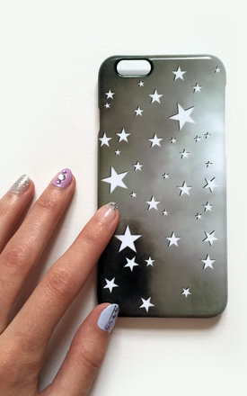 White monochrome stars phone case by Rianna Phillips