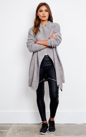 Grey cross over knitted cardigan by Noisy May