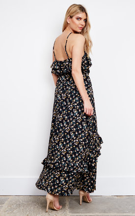 Black Vintage Floral Frill Maxi Dress by Glamorous