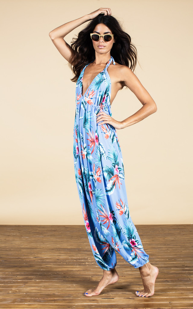 Genie Jumpsuit in Sky Blue Tropical image