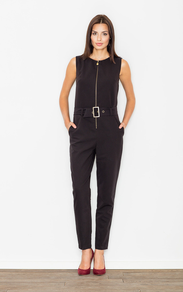 Black Sleeveless Zip-Front Belted Jumpsuit by FIGL