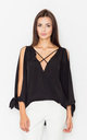 Black V-Neck Cut Off Shoulders Long Sleeves Top by FIGL