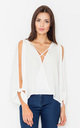 Off the shoulder v neck top in white by FIGL