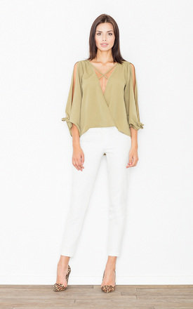 Olive Green V-Neck Cut Off Shoulders Long Sleeves Top by FIGL