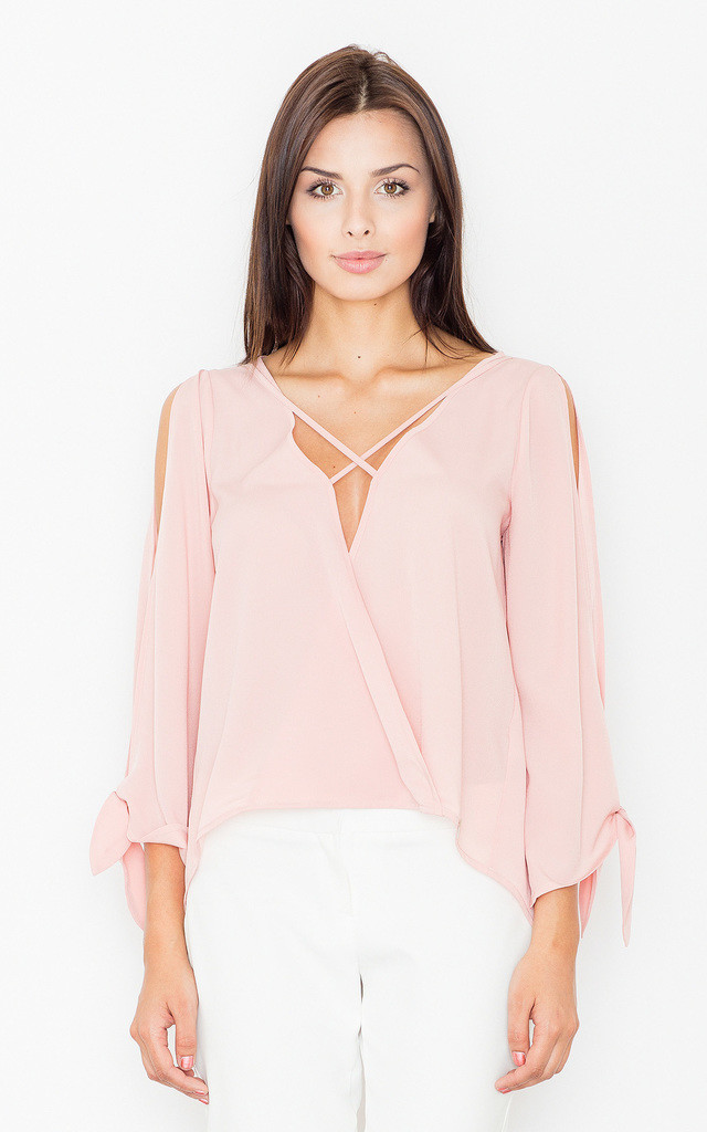 Pink V-Neck Cut Off Shoulders Long Sleeves Top by FIGL