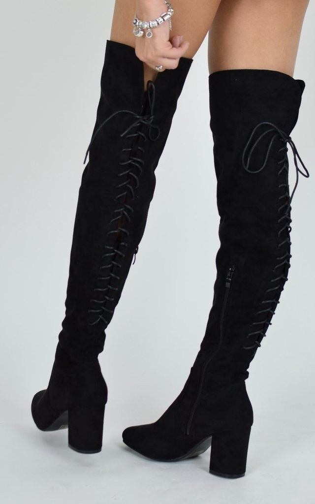 Lace Up Block Heel knee High Boots - Black Suede by AJ | VOYAGE