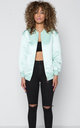 Relaxed Longline Premium Satin Bomber Jacket by Quillattire