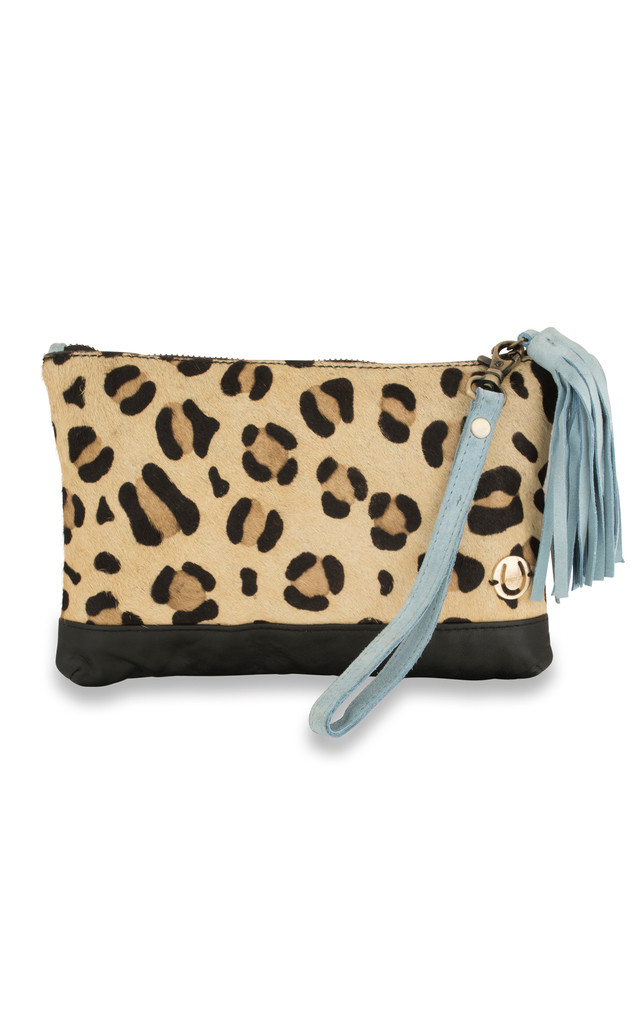 Marcia tassel pouch in leopard and blue by The Foundry Design